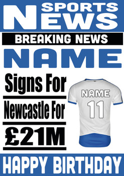 Signed For Newcastle United Personalised Card