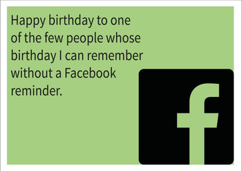 Remember Without Facebook Personalised Birthday Card