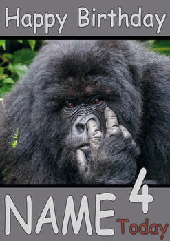 Ape Picking Nose Personalised Birthday Card