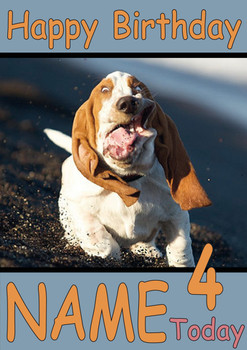 Beagle Running Funny Personalised Birthday Card