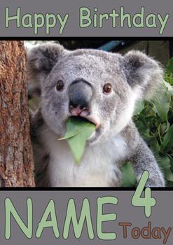 Bear Eating Leaves Personalised Birthday Card