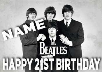 Beatles Black And White Personalised Birthday Card