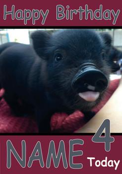 Black Piglet Personalised Birthday Card