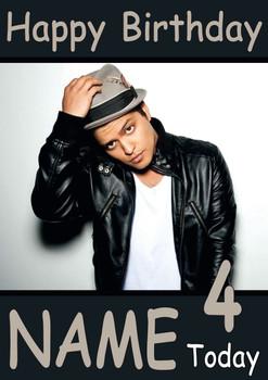 Bruno Mars Personalised Birthday Card