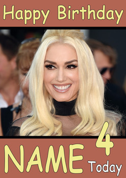 Gwen Stefani Personalised Birthday Card