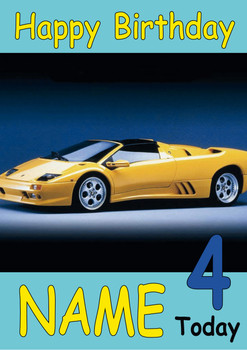 Yellow Sports Car Side View Personalised Birthday Card