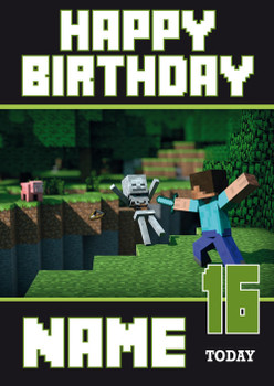 Minecraft New Design 2 Personalised Birthday Card