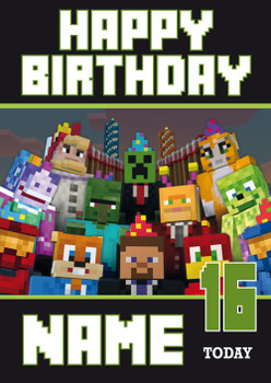 Minecraft New Design 3 Personalised Birthday Card