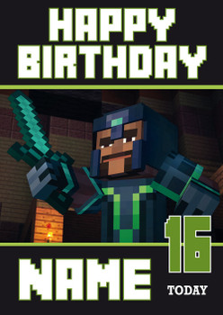 Minecraft New Design 4 Personalised Birthday Card