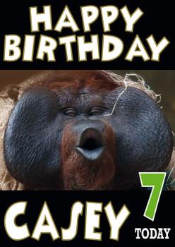 Monkey Pouting Funny Birthday Card