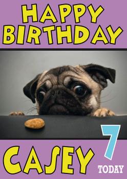 Pug Cookie Funny Birthday Card