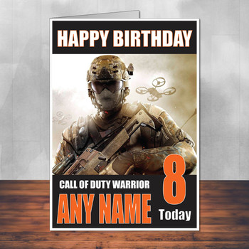 Call Of Duty Shaun 4 Personalised Birthday Card