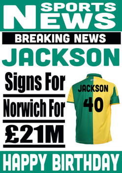 Signed For Norwich Personalised Card