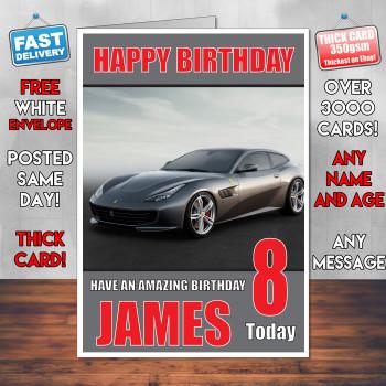 Ferrari Personalised Boy Girl Birthday Card