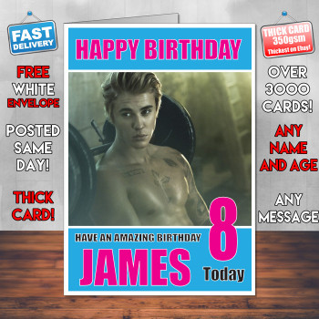 JUSTIN BIEBER  Personalised Birthday Card