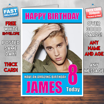 Justin Bieber 2 Personalised Birthday Card