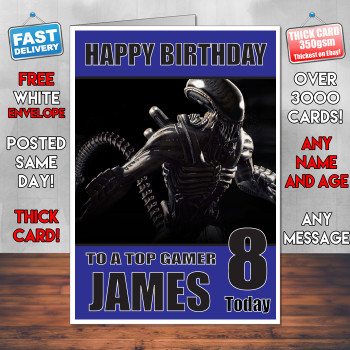 Alien Mortal Kombat Bm1 Personalised Birthday Card