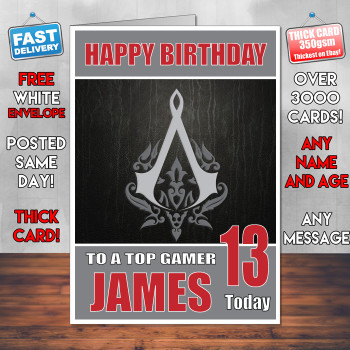 Assasins Creed Bm2 Personalised Birthday Card