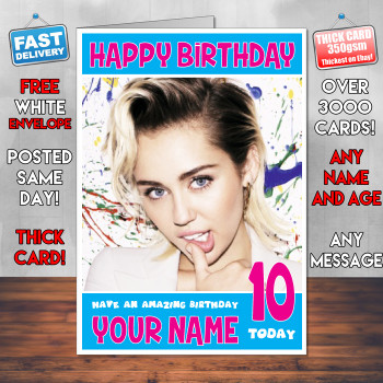 Miley Cirus Bm1 Personalised Birthday Card