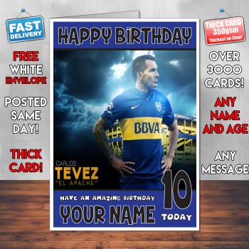 Carlos Tevez Sj1 Personalised Birthday Card