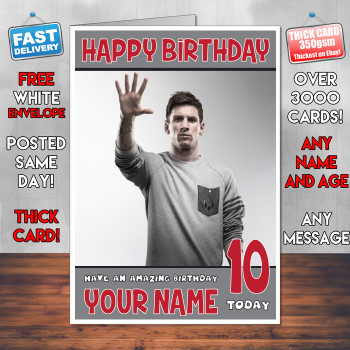 Messi 3 Bm2 Personalised Birthday Card
