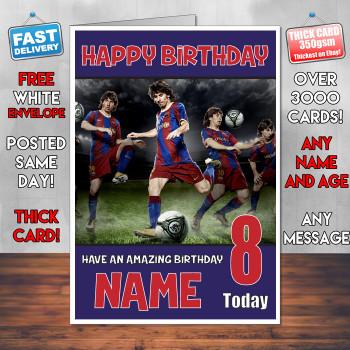 Messi 5 Bm2 Personalised Birthday Card
