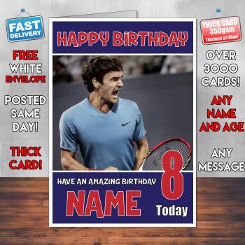 Roger Federer 2 Bm2 Personalised Birthday Card