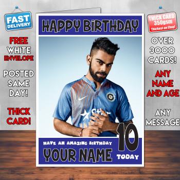 Virat Kohli India Bm Personalised Birthday Card