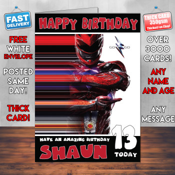 Powerrangers Red Personalised Birthday Card