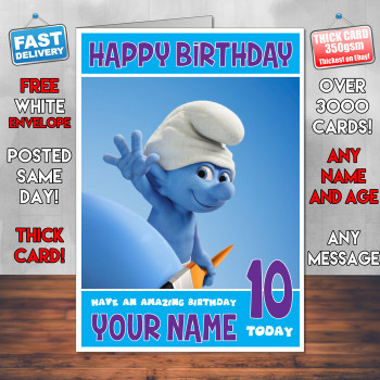 Smurfs Bm1 Personalised Birthday Card