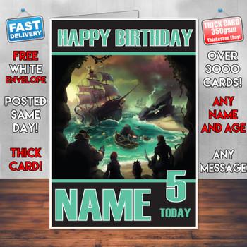 Sea Of Thiefs 2017 Personalised Birthday Card