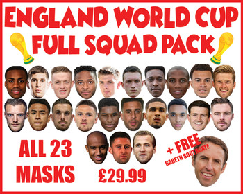 FULL England Squad Football World Cup 2018 Face Mask pack