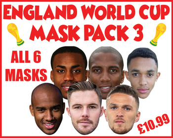 England Mask Pack 3 Football World Cup 2018 Face Mask Pack