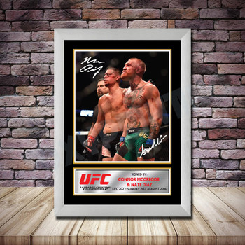 Personalised Signed Celebrity Autograph print - Connor McGregor v Nate Diaz -A4 A3 A2 A1 - Framed or Print Only
