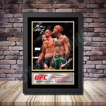 Personalised Signed Celebrity Autograph print - Connor McGregor v Nate Diaz Framed or Print Only