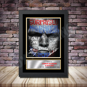 Personalised Signed Celebrity Autograph print - Connor McGregor v Nate Diaz3 -A4 A3 A2 A1 - Framed or Print Only