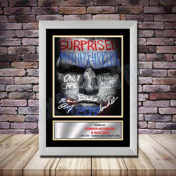 Personalised Signed Celebrity Autograph print - Connor McGregor v Nate Diaz3 Framed or Print Only
