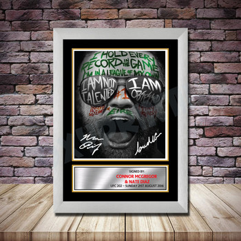 Personalised Signed Celebrity Autograph print - Connor McGregor v Nate Diaz2 -A4 A3 A2 A1 - Framed or Print Only