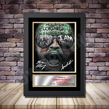 Personalised Signed Celebrity Autograph print - Connor McGregor v Nate Diaz2 Framed or Print Only