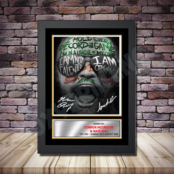 Personalised Signed Celebrity Autograph print - Connor McGregor v Nate Diaz2 Framed or Print Only