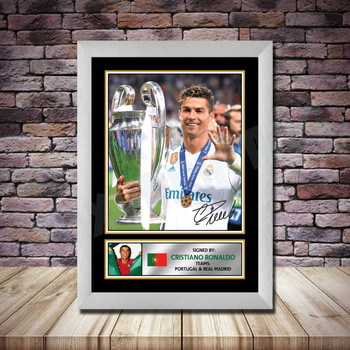 Personalised Signed Football Autograph print - Ronaldo -A4 A3 A2 A1 - Framed or Print Only