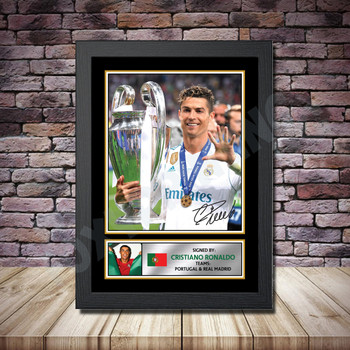 Personalised Signed Football Autograph print - Ronaldo Framed or Print Only