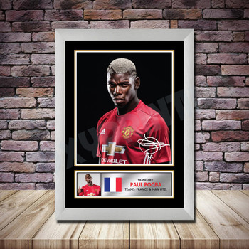 Personalised Signed Football Autograph print - Paul Pogba -A4 A3 A2 A1 - Framed or Print Only