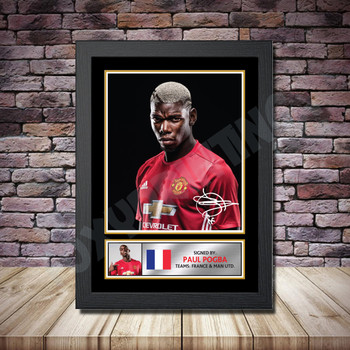 Personalised Signed Football Autograph print - Paul Pogba Framed or Print Only