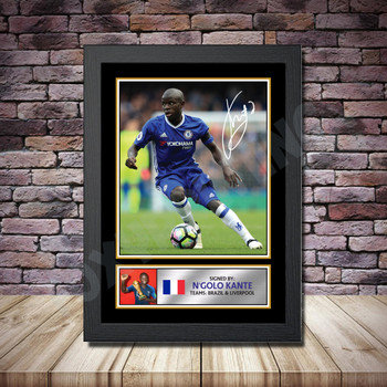 Personalised Signed Football Autograph print - Ngolo Kante -A4 A3 A2 A1 - Framed or Print Only