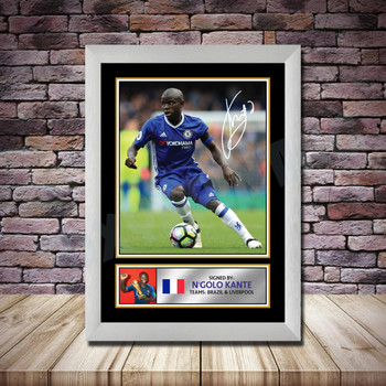 Personalised Signed Football Autograph print - Ngolo Kante Framed or Print Only