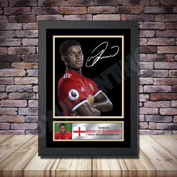 Personalised Signed Football Autograph print - Marcus Rashford -A4 A3 A2 A1 - Framed or Print Only