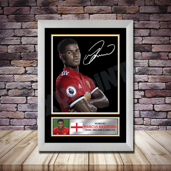 Personalised Signed Football Autograph print - Marcus Rashford Framed or Print Only