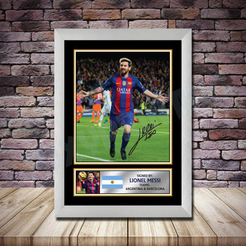 Personalised Signed Football Autograph print - Lionel Messi -A4 A3 A2 A1 - Framed or Print Only