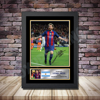 Personalised Signed Football Autograph print - Lionel Messi Framed or Print Only